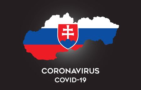 CoronaVirus in Slovakia and Country flag inside Country border Map Vector Design. Covid-19 with Slovakia map with national flag Vector Illustration.