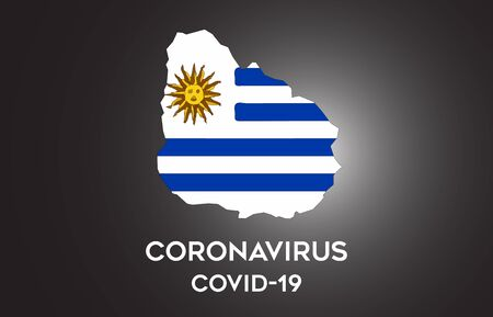 CoronaVirus in Uruguay and Country flag inside Country border Map Vector Design. Covid-19 with Uruguay map with national flag Vector Illustration.