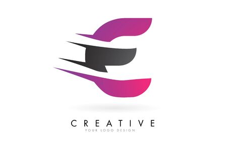 E Letter  with Pink and Grey Colorblock Design and Creative Cut. Creative  design.