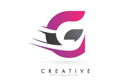 G Letter  with Pink and Grey Colorblock Design and Creative Cut. Creative  design. Ilustração