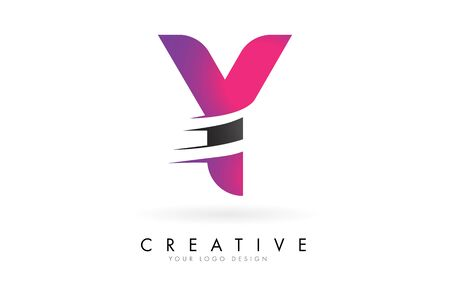 Y Letter  with Pink and Grey Colorblock Design and Creative Cut. Creative  design. Ilustração