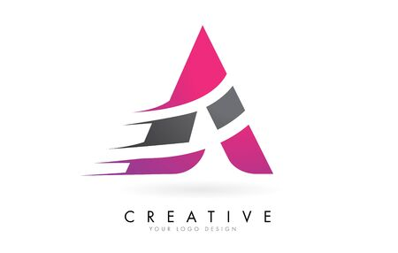 A Letter  with Pink and Grey Colorblock Design and Creative Cut. Creative  design.