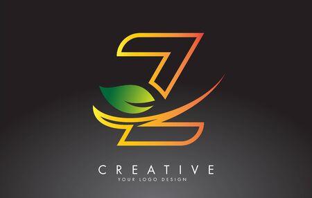 Monogram Z Letter Logo Design with Green Leaf. Eco and Organic Letter Vector Illustration.