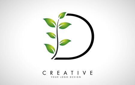 Leaf Letter D Logo Design with Green Leaves on a Branch. Letter D with nature concept. Eco and Organic Letter Vector Illustration.