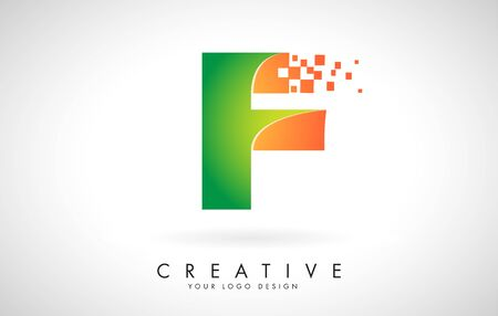 Letter F Logo Design in Bright Colors with Shattered Small blocks on white background.  Vector Illustration Design. Pixel art of the F letter logo.