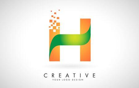 Letter H Logo Design in Bright Colors with Shattered Small blocks on white background.  Vector Illustration Design. Pixel art of the H letter logo. Illusztráció