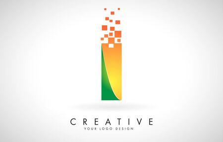 Letter I Logo Design in Bright Colors with Shattered Small blocks on white background. Vector Illustration Design. Pixel art of the I letter logo. Logo