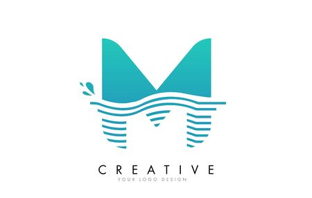 M Letter Logo with Waves and Water Drops Design Vector Illustration.