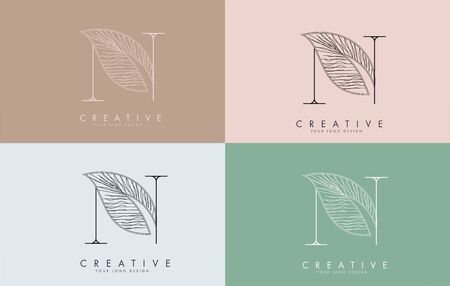 Outline Letter N Logo icon with Wired Leaf Concept Design on colorful backgrounds. Letter N with nature concept. Eco and Organic Letter Vector Illustration.