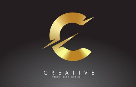 Golden C letter logo design with creative cuts. Creative vector illustration.