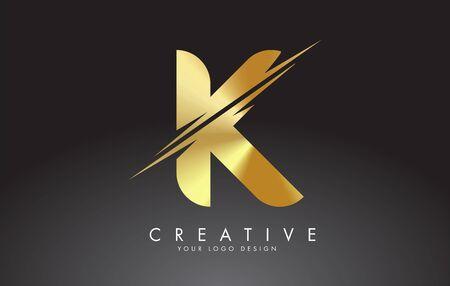 Golden K letter logo design with creative cuts. Creative vector illustration. Ilustração