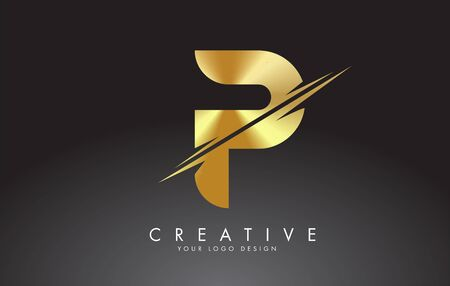 Golden P letter logo design with creative cuts. Creative vector illustration. Imagens - 145284321
