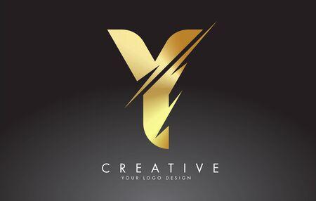 Golden Y letter logo design with creative cuts. Creative vector illustration. Ilustração