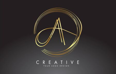 Gold Handwritten AA A Letters Logo with a minimalist design. AA Icon with Circular Golden Circles. Creative Stamp Vector Illustration with letter A. Logo
