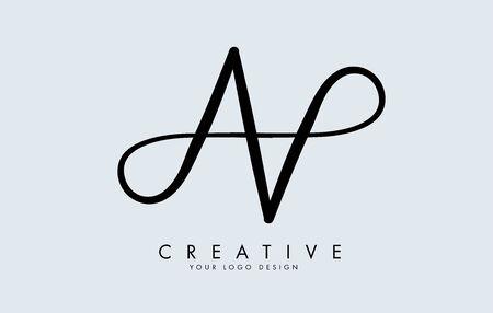 Handwritten Double AA letter logo design. Reflection effect vector illustration.Reflection effect vector illustration sign.