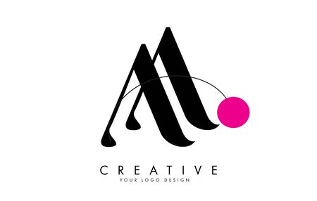 Handwrriten Double AA letter logo design with a pink dot. Vector Illustration with letter A.