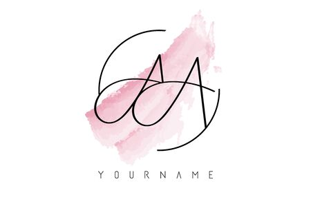AA a Letters Logo with Pastel Watercolor Acquarella Brush Stroke and Circular Rounded Design.
