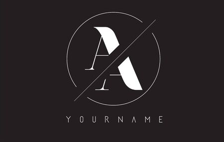 AA A Letter Logo with Cutted and Intersected Design and Round Frame Vector Illustration.