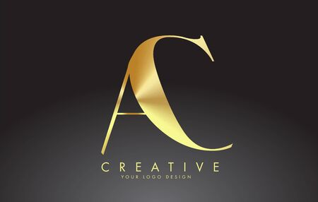Golden Luxury AC A C Letters Logo Design Vector Illustration. 스톡 콘텐츠 - 146382059