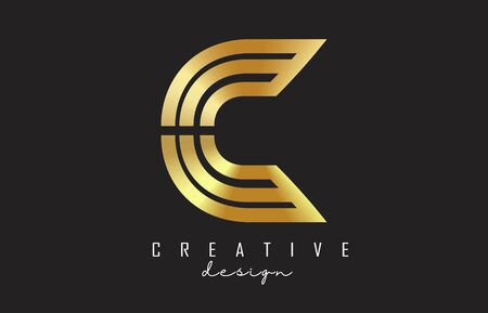 Golden Wired Monogram C Letter Logo with creative cut. Creative and simple golden C design. Graphic C Vector Illustration.