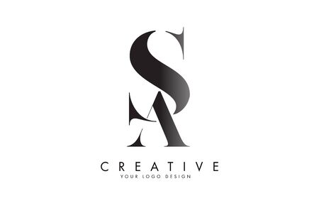 SA S A letter logo design with logotype concept and serif font. SA icon with an elegant and stylish look vector illustration. Creative Vector Illustration with letters A and S.