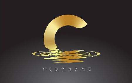 C Letter Logo Design with Water Effect Vector Illustration. Template C for brand-name companies.