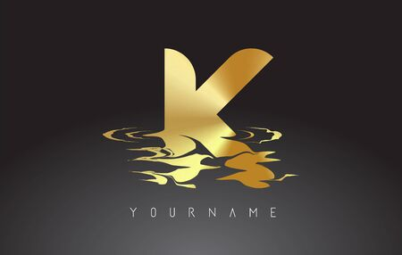 K Letter Logo Design with Water Effect Vector Illustration. Template K for brand-name companies.
