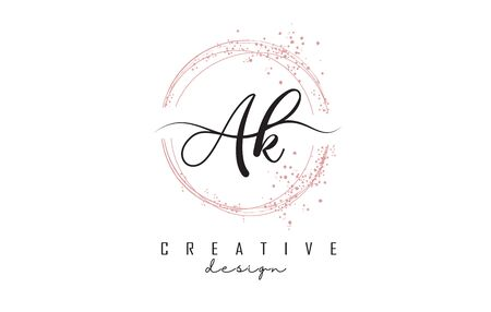 Handwritten AK a k letters logo with dust pink sparkling circles and glitter. Decorative shiny vector illustration with A and K letters. Logo