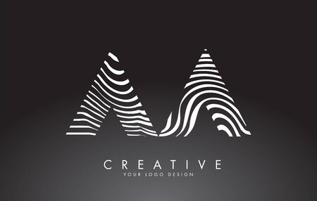AA A Letters Logo Design with Fingerprint, black and white wood or Zebra texture on a Black Background. Creative AA vector illustration with black and white lines. Logo