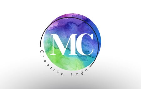 Watercolor MC m c letters  Design with Blue Green Purple Colors and Circular Brush Pattern.