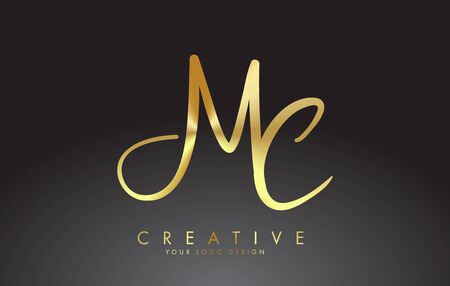 Handwritten MC M C Letters . MC M C Sign with Golden Wire Effect. Creative Vector Illustration with letters M and C.