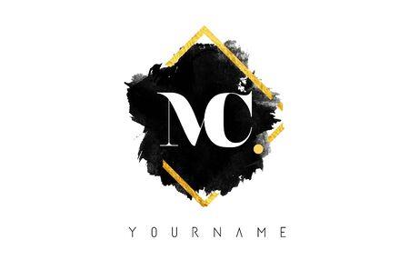 MC M C Letters Design with Black ink Stroke over Golden Square Frame Vector Illustration. Ilustração