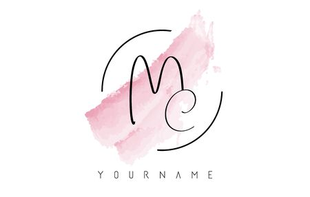 Handwritten MC M C Letters   with Pink Pastel Watercolor Brush Stroke Concept and Circular Rounded Design. Illustration