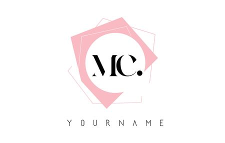 Geometric MC M C Letters with Pastel Pink Color   Design with Circle and Rectangular Shapes Vector Illustration.