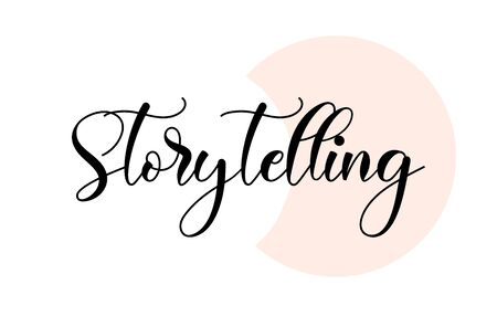 Storytelling word handwritten with custom calligraphy. Creative Word for logotype, badge, icon, card, postcard,  banner with colorful Stars and Swoosh Vector Illustration Design.