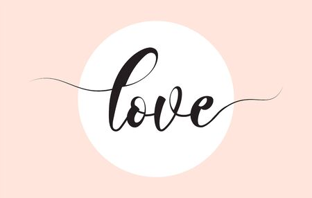 Love word handwritten with custom calligraphy. Creative Word for logotype, badge, icon, card, postcard, banner with colorful Stars and Swoosh Vector Illustration Design. Elegant lettering, great for valentine day cards, wedding invitations and romantic decoration.