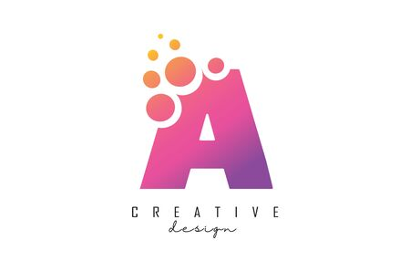 A Letter Logo with blue dots design. Letter A logotype with bubbles bunch. Corporate branding identity vector illustration with letter A. Illustration