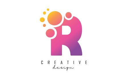 R Letter Logo with blue dots design. Letter R logotype with bubbles bunch. Corporate branding identity vector illustration with letter R.