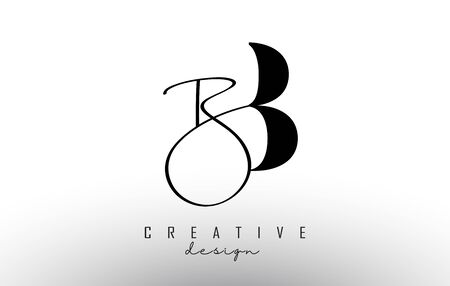 Letters BB B Logo with a minimalist design and handwritten letter. Simple BB Icon. Creative Vector Illustration with letter B.