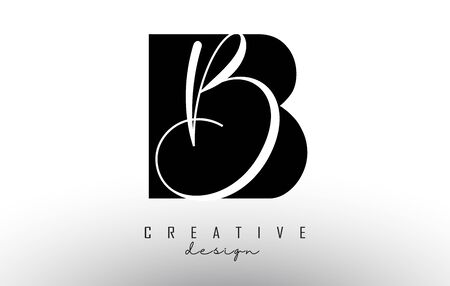 Letters BB B Logo with a minimalist design. Abstract overlapping letter B with geometric and handwritten typography. Creative Vector Illustration with letter B. Lettering sign. Black and white alphabet initials isolated on white background.