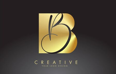 Golden Letters BB B Logo with a minimalist design. Abstract overlapping letter B with geometric and handwritten typography. Creative Vector Illustration with letter B. Lettering sign. Golden and black alphabet initials isolated on black background. Illustration