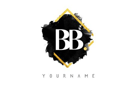 Double BB B Letter Logo Design with Black ink Stroke over Golden Square Frame. Creative vector illustration with letter b. Illustration