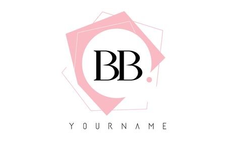 Geometric Double BB B Letters with Pastel Pink Color Logo Design with Circle and Rectangular Shapes Vector Illustration.