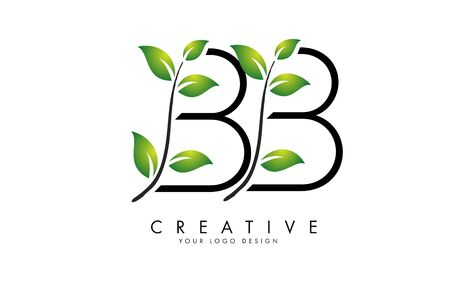 Leaf Letters BB B Logo Design with Green Leaves on a Branch. Letters BB with nature concept. Eco and Organic Letter Vector Illustration.