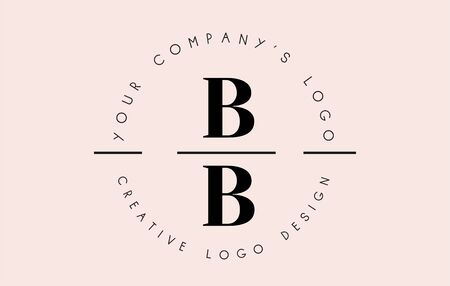 Letters BB B Logo set as a stamp or personal signature. Simple BB Icon with Circular Name Pattern. Creative Vector Illustration with letter B. Illustration