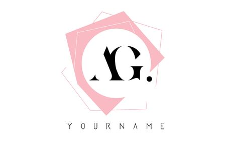 Geometric AG A G Letters with Pastel Pink Color Logo Design with Circle and Rectangular Shapes Vector Illustration. Illustration
