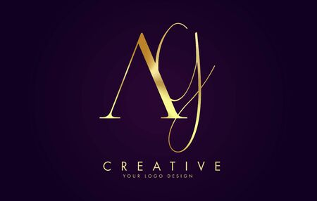 Golden Luxury AG A G Letters Logo Design and golden texture vector Illustration. Icon with letters A and G. Illustration
