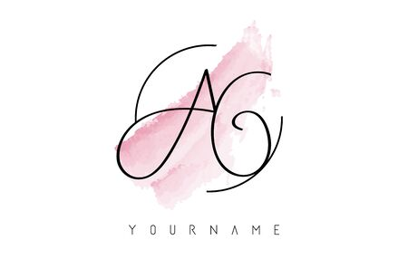 Handwritten AG A G Letters Logo with Pink Pastel Watercolor Brush Stroke Concept and Circular Rounded Design.