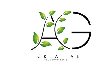 Leaf Letters AG A G Logo Design with Green Leaves on a Branch. Letters AG with nature concept. Eco and Organic Letter Vector Illustration.