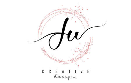Handwritten Ju J u letter logo with sparkling circles with pink glitter. Decorative vector illustration with J and u letters.